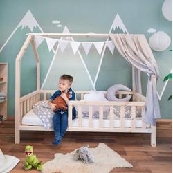 Alcube Hausbett FELIX 70x140 I 80x160, Stabiles Kinderbett aus massivem Holz mit Rausfallschutz und Lattenrost natur 80 cm