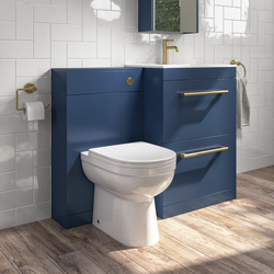 1100mm Blue Toilet and Sink Unit with Round Toilet Drawers and Brass Fittings - Ashford