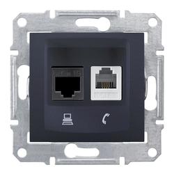 Dose für Netzwerk und Telefon Cat. 6, anthrazit Sedna Schneider SDN5200170/SCH