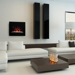 Feuerschale Elektro-Wandkamin 1800W Flammenillusion Dekosteine schwarz