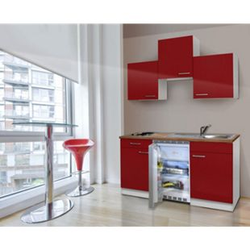 Respekta Küchenzeile KB150WR 150 cm Rot-Weiß