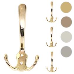 4x Garderobenhaken HWC-D46, Haken Wandhaken Kleiderhaken Set ~ Farbe: gold
