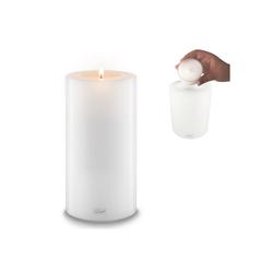 Qult Teelichthalter Qult Teelicht-Halter Trend 10cm Dauerkerze Kunststoff-Kerze Teelichtkerze in schwarz und weiss weiß 21 cm