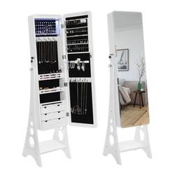 SONGMICS Schmuckschrank JBC89WT Spiegelschrank mit 8 LEDs, weiß