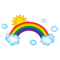 dekodino® Wandtattoo Regenbogen mit Wolken und Sonnenschein