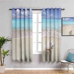 GJJHR Schlafzimmer Vorhänge Blickdicht Gardinen 3D - Blau Meer Strand Himmel - 140x160 cm - Modern Elegante Gardinen für Dekoration Kinderzimmer Wohnzimmer Schlafzimmer