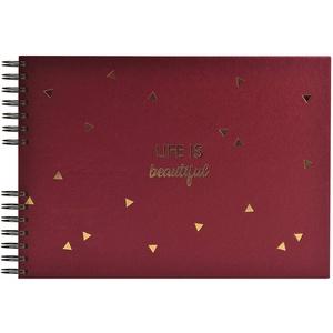 Exacompta 16453E Premium Fotoalbum Life mit 50 Seiten, perfekt für Ihre Fotos zum selbstgestalten Fotobuch Spiralalbum rot