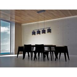 TRIO LED Pendelleuchte, mehrflammig mit Stoff-Lampenschirm hängend für über Esstisch-Lampe 4-flammige Küchen-Leuchte Wohnzimmer Esszimmer