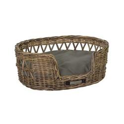 Klassischer Luxury Haustier-Rattankorb Oval, L: 75x65x29 / 68x57 cm
