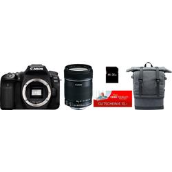 Canon EOS 90D Spiegelreflexkamera (Canon EF-S 18-135mm f/3.5-5.6 IS, 32,5 MP, WLAN (Wi-Fi), Bluetooth, Rucksack + 32GB SD-Karte + 10€ FGS)