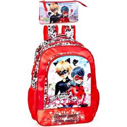 Miraculous - Ladybug Kinderrucksack Ladybug & Cat Noir - Rucksack und Federmäppchen, rot (Reißverschluss, Mädchen), Tragegurte