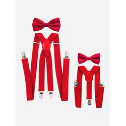 axy Hosenträger (Vater-Sohn Hosenträger mit Fliege Set) Partnerlook für Herren und Kinder 1-6 Jahre alt, Fotoshooting Familien Outfit rot