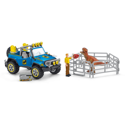 Schleich® Spielzeug-Auto Dinosaurs, Geländewagen mit Dino-Außenposten (41464), (Set)