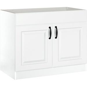 wiho Küchen Spülenschrank Erla 100 cm breit mit Kassettenfront, ohne Arbeitsplatte weiß