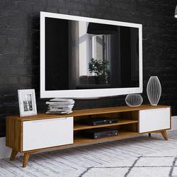 TV Lowboard in Weiß und Wildeiche 220 cm breit