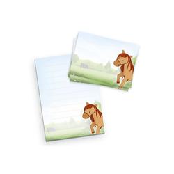 Kreative Feder Briefpapier, Briefpapier-Set für Kinder, Pferd, DIN A5 Briefpapier-Block 50 Blatt mit 20 Umschlägen, Briefpapier mit Linien, Brief, Post, Schreiben