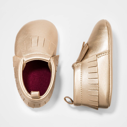 Baby Girls' Faux Leather Moccasin Shoes - Cat & Jack Gold 6-9M