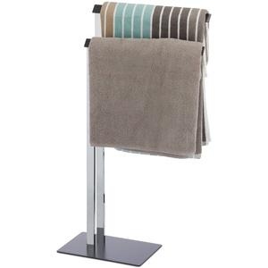 Relaxdays, Chrom/anthrazit Handtuchständer zweiarmig, Freistehender Handtuchhalter, Badetuchhalter HBT 82 x 46 x 20 cm, Standard