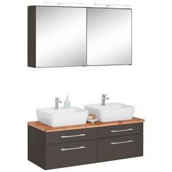 HELD MÖBEL Badmöbel-Set Davos, (3-tlg), mit 2 LED-Spiegelschränken grau