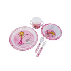 BIECO Kindergeschirr-Set Bieco Baby Geschirrset Prinzessin 5-teiliges Baby Geschirr Kindergeschirr aus Melamin Geschirr Baby für Kleinkinder Baby Essen Set Babygeschirr Set bunt, Kunststoff