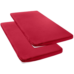 Spannbettlaken Jersey, my home, für Topper auf Boxspringbetten rot 90 cm x 200 cm