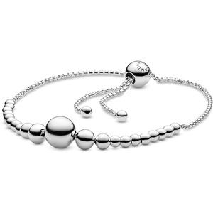 Pandora Damen Metallperlen-Schnur Schiebearmband Sterling Silber 597749-1
