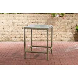 CLP Polyrattan Tisch Alia 5mm I Gartentisch Rundrattan I Bartisch Mit Glasplatte I Gartenmöbel