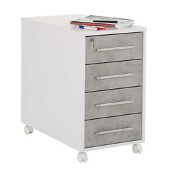 Schubladen Rollcontainer in Grau und Weiß abschließbar