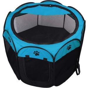 KEESIN Faltbares Haustier Zelt 8-Panel Mesh Haus WelpenLaufstall Hundehütte für Hunde Katze Kaninchen (73 * 73 * 43cm, Blau)