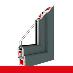Kunststofffenster Dreh (ohne Kipp) Fenster Basaltgrau