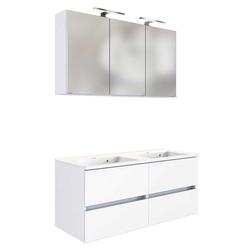 Badezimmermöbel Set in Weiß Doppelwaschbecken (2-teilig)