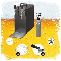 ich-zapfe Komplett Set - Zapfanlage STREAM 50 Bierkoffer, Durchlaufkühler 2-leitig Trockenkühler, bis zu 55 Liter/h - BLACK EDITION, Zapfkopf 2:Kombi,Zapfkopf:KeyKeg