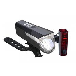Büchel Fahrradbeleuchtung LED-Batterieleuchten-Set BLC 820 schwarz mit Akkus