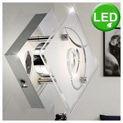 Esto Wandleuchte, 5 Watt LED Decken- und Wandleuchte Chrom Esszimmer Glas Kristalle Esto 740002-1 ALEXA