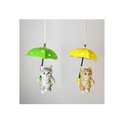 Figuren-Discounter Dekofigur Deko-Figuren - Katze am Regenschrim: 2-fach Sortie