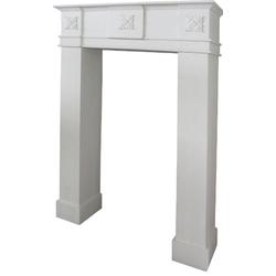 Casa Padrino Landhausstil Kaminumrandung Weiß 70 x 20 x H. 110 cm - Handgefertigte Kaminumrandung mit Verzierungen