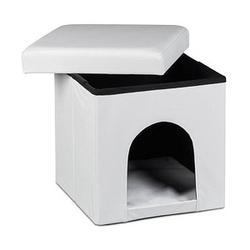 relaxdays Sitzhocker mit Hundebox   weiß 38,0 x 38,0 x 38,0 cm