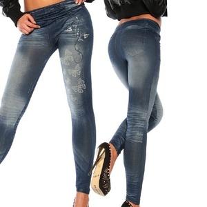 Damen Jeans Look Leggings Leggins Treggings Skinny Jeggings mit Schmetterling Gedrückt Muster Blau
