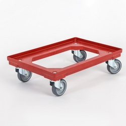 Kunststoffwagen für transportkisten 600 x 400 mm, 250 kg, graue