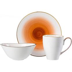 Ritzenhoff & Breker Frühstücks-Geschirrset COSMO (3-tlg), Porzellan, Mikrowellengeeignet weiß