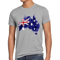 style3 Print-Shirt Herren T-Shirt Flagge Australien Fußball Sport Australia WM EM Fahne grau XXL