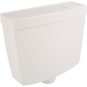 Sanitop-Wingenroth WC Spülkasten Aufputz weiß | Robuster Kunststoff | Spül-Stopp-Taste | Wassermenge: 6-9 Liter | Tiefspülkasten WC | Toilettenspülkasten mit Schwitzwasserisolierung | 21040 9