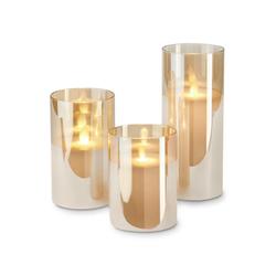 3 LED-Echtwachskerzen im Glas