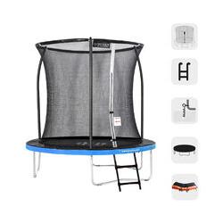 Trampolín redondo al aire libre Azul + Naranja 250 + Escalera + Kit de anclaje + Bolsa fitness de