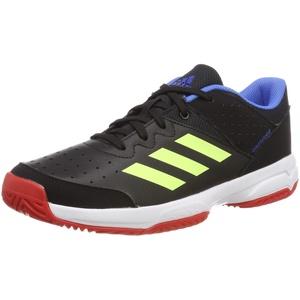 adidas Court Stabil Jr, Unisex-Kinder Handballschuhe, Schwarz (Core Black/Hi/Res Yellow/Active Red Core Black/Hi/Res Yellow/Active Red), 33 EU (1 UK)