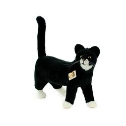 Kösen Kuscheltier Katze schwarz-weiß Mauz 40 cm stehend (Stoffkatze Plüschkatze Stofftiere Katzen Plüschtiere, schwarz-weiße Katze)