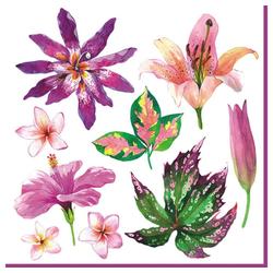 Linoows Papierserviette 20 Servietten Sommer Aquarell, Tropische Blumen, Motiv Sommer Aquarell, Tropische Blumen und Blätter