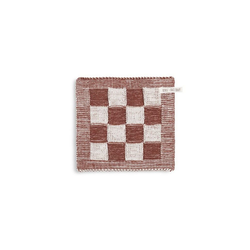 Knit Factory Geschirrtuch Knit Factory Topflappen Block Ecru/Rost, (1-tlg)