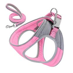 Rosnek Hunde-Geschirr Hundegeschirr Verstellbare Reflektieren Softgeschirr Katze Gepolstert Brustgeschirr + Leine, verstellbar von 33-39,36-45,42-50 rosa L