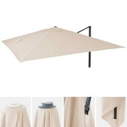 Bezug für Luxus-Ampelschirm MCW-A96, Sonnenschirmbezug Ersatzbezug, 3x3m (Ø4,24m) Polyester 2,7kg ~ creme